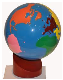 Montessori lessons the continent globe age 3 to 6 each continent is a particular colour north america orange south america pink europe red africa green asia yellow gumiabroncs Choice Image