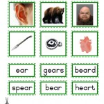 "Montessori Language Materials Green Consonant ""ear"", Age 3 to 6"