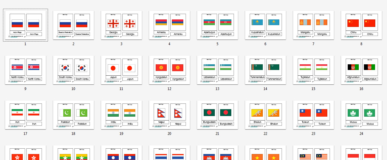 photograph relating to Flags of the World Printable Pdf identified as Montessori Asian Flags Printable Card Elements
